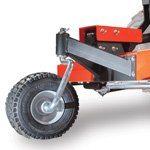 Adjustable height anti-scalping wheel on a DR PTO fenceline trimmer