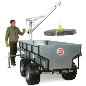 Swinging boom lift on a DR ATV dump trailer