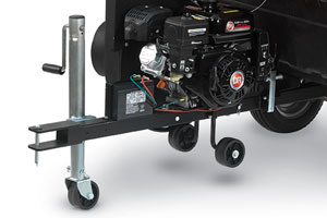 Trailer jack stand on the tow-behind DR leaf vacuum