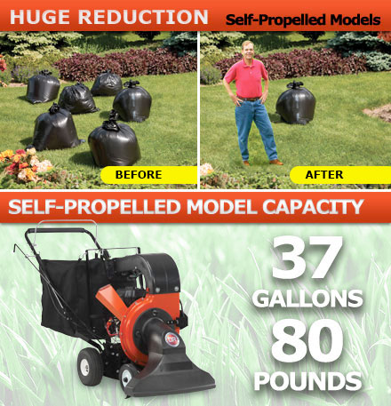 Self-propelled model leaf vacuum can hold 37-gallons / 80 lbs