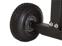 16-inch DOT approved all-terrain tires on a DR log splitter