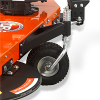 Anti-scalping wheel on a DR pull-behind string trimmer