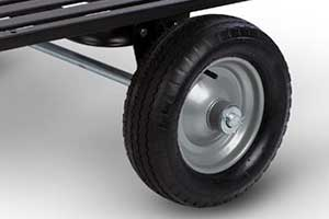 14-inch wheels on the tow-behind DR leaf vacuum