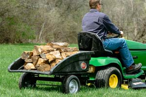 Tow-behind DR leaf vacuum converts to a utility cart